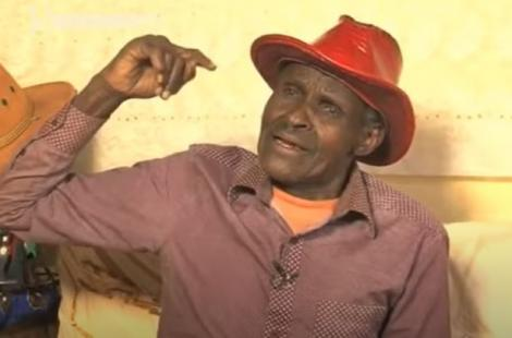 Kikuyu Musician Dick Njoroge during an interview in 2017. He turned to composing songs for other singers after he lost his voice.