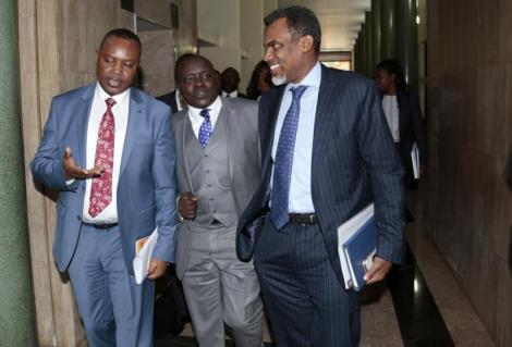 Director of Public Prosecution Noordin Haji (R) and Directorate of Criminal Investigations (DCI) boss George Kinoti after a Committee meeting with the Multi-Agency team on Corruption at Parliament.