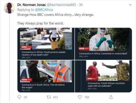 Dr Norman Jonas' Tweet.