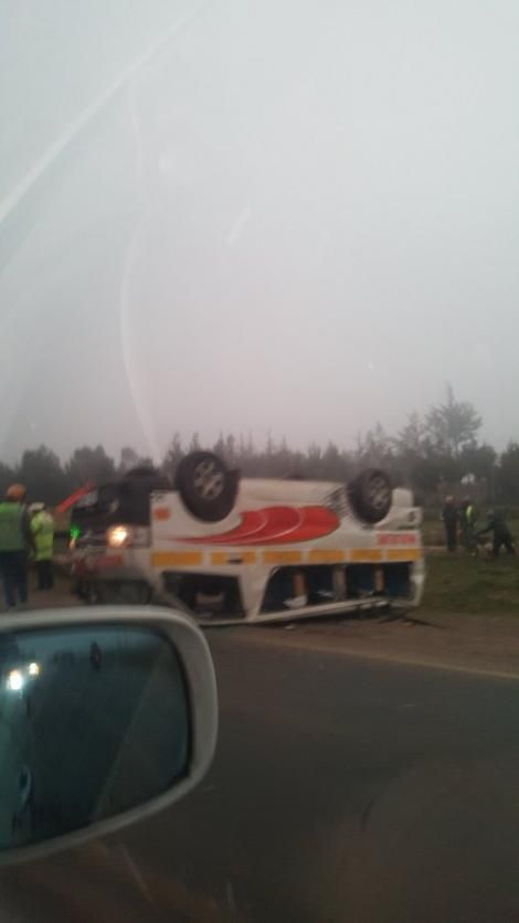 Matatu involved in an accident at Soko Mjinga on Wednesday, July 21 2021
