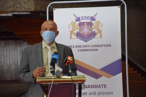 EACC CEO Twalib Mbarak after presenting a cheque to the Kenya Covid-19 Fund on April 28, 2020.