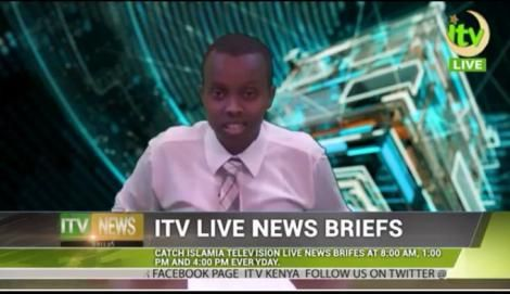 Acting TV47 CEO Abubakar Abdullahi during a past bulletin for iTV while in first year at Daystar University