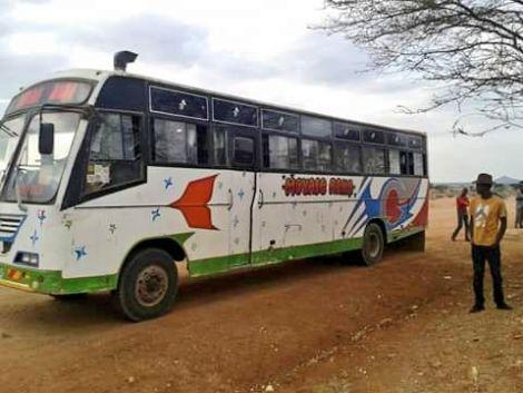 A photo of a bus belonging to Moyale Raha Company.