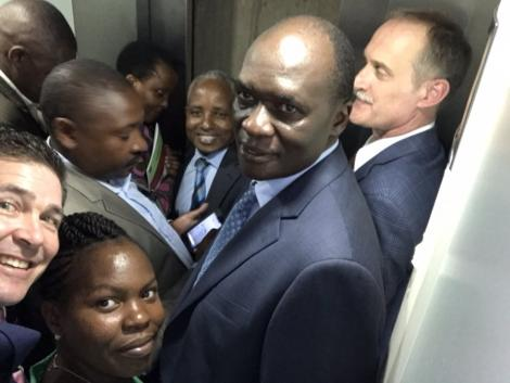 A selfie of the United States Ambassador to Kenya Kyle McCarter stuck in an elevator on Thursday, February 20.