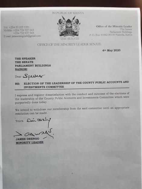A letter purported to have been authored by James Orengo disputing Ledama Ole Kina's election in the Senate on Monday, May 4, 2020.