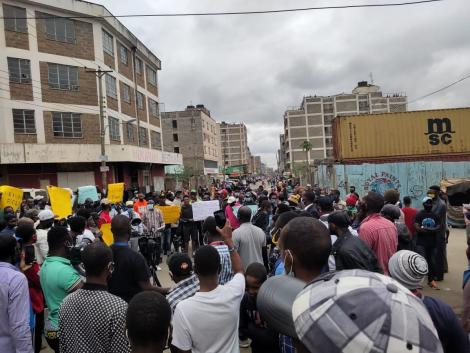 Residents gathered for a protest in Eastleigh on May 11, 2020