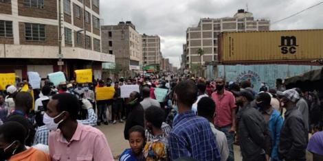 Residents gathered for a protest in Eastleigh, Nairobi on May 11, 2020