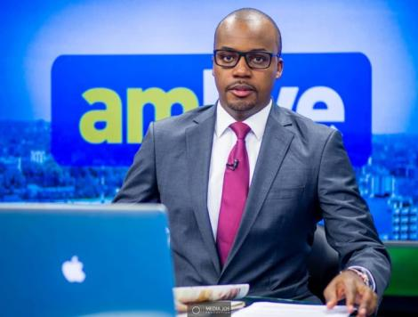 A photo of NTV News Anchor Edmond Nyabola on set.