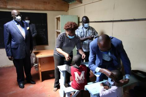 Education CS George Magoha inspects Olympic Primary School on Saturday, January 2, 2021