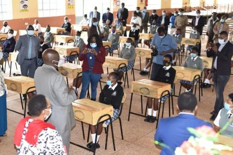Education Cabinet Secretary George Magoha at a school in Nyeri on October 28, 2020.