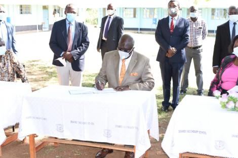 Education Cabinet Secretary George Magoha in Kisumu on December 28, 2020.