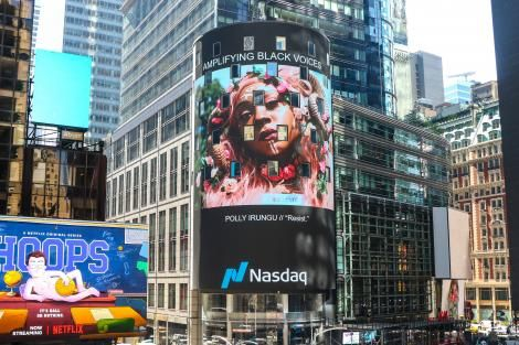 A photo on Nasdaq's billboard curated by Polly Irungu a Kenyan photographer based in the US