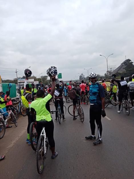 Cyclists on Thika Superhighway on September 19, 2020