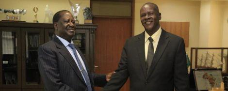 ODM leader Raila Odinga with Turkana Senator Malachy Ekal at Capitol Hill, Nairobi in July 2019