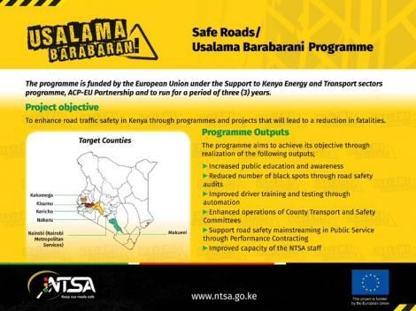 A poster detailing the roll out of the new National Road Safety Programme.