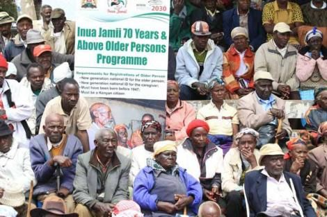 Elderly people follow during the launch of Inua Jamii cash transfer programme in Nyeri in 2017.