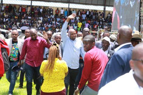 Elgeyo Marakwet Kipchumba Murkomen (l) and Gatundu South MP Moses Kuria leaving Kinoru Stadium midway through the BBI rally on February 29, 2020.