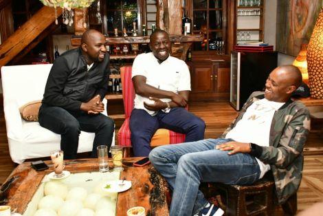 Elgeyo Marakwet Senator Kipchumba Murkomen (left) and Nandi Governor Stephen Sang (centre) enjoy a light hearted moment on March 12, 2020.