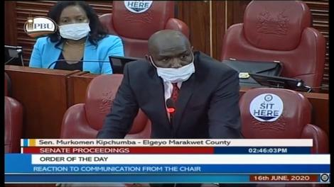 Elgeyo Marakwet Senator Kipchumba Murkomen addressing the Senate on June 16, 2020.