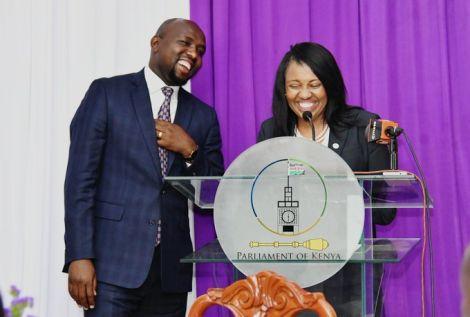 Elgeyo Marakwet Senator Kipchumba Murkomen and Nakuru Senator Susan Kihika