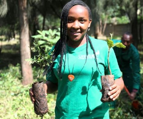 Climate activist Elizabeth Wathuti. She is the founder of Green Generation Initiative (GGI).