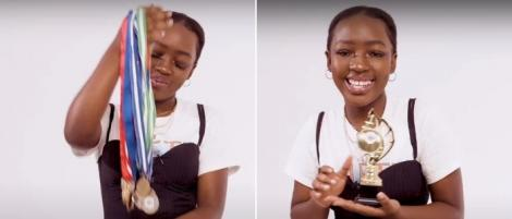 Comedian Elsa Majimbo shows off her chess medals and trophy