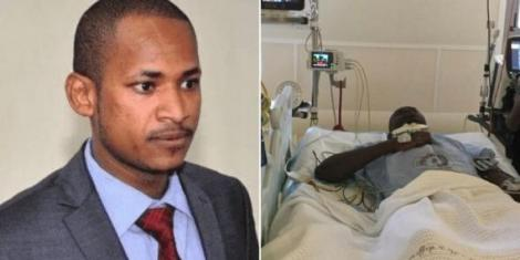 Embakasi East MP Babu Owino (left) and DJ Evolve hospitalised at Nairobi Hospital.