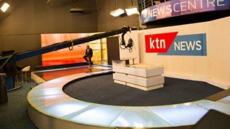 A journalist seated at a KTN News studio along Mombasa Road.