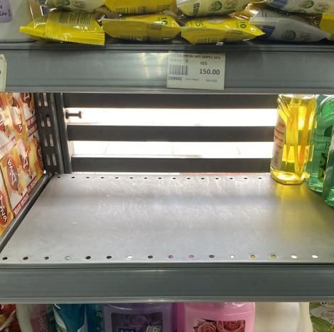 A photo of an empty section of a shelve allocated to wipes at a Nairobi supermarket pictured on Friday, March 13, 2020.