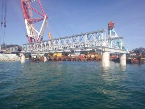 Construction progress at the Likoni Floating Bridge