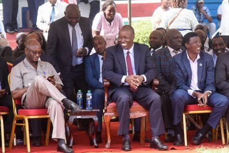 Nakuru County Commissioner Erastus Mbui (left), Nakuru Governor Lee Kinyanjui, and Treasury Chief Administrative Secretary Nelson Gaichuhie during the Nakuru BBI consultative meeting at Central Rift Valley Agricultural Showground on March 21, 2020.
