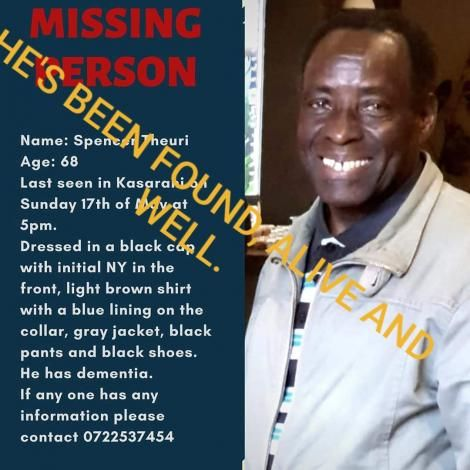 The poster that was shared by Naomi Theuri on Monday night , May 18, 2020, after her father went missing.