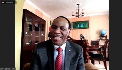 Ezekiel Mutua in a virtual meeting with Natalie Wambui on July 21, 2020