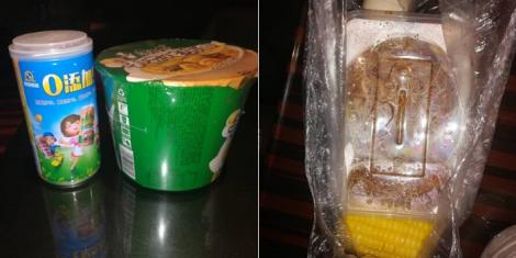 Supper (left) and breakfast (right) given to Africans and Kenyans in mandatory quarantine in China as revealed on Friday, April 10, 2020