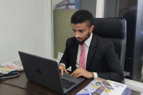 Former K24 TV Ahmed Bhalo in his office at Richland Properties in Nairobi on Monday, July 6, 2020.