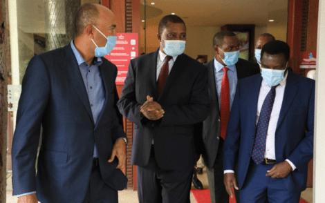 Former Presidential candidate Peter Kenneth (left(, National Assembly Speaker Justin Muturi, Laikipia Governor Ndiritu Muriithi and Tharaka Nithi Governor Muthomi Njuki after their meeting at Pan Afric Hotel. July 8, 2020.