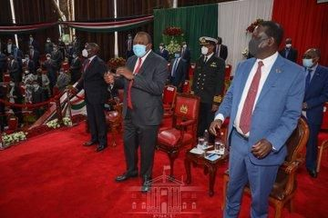 Former Prime Minister Raila Odinga (right), President Uhuru Kenyatta (center) and Deputy President William Ruto at Bomas of Kenya on Monday, October 26, 2020.
