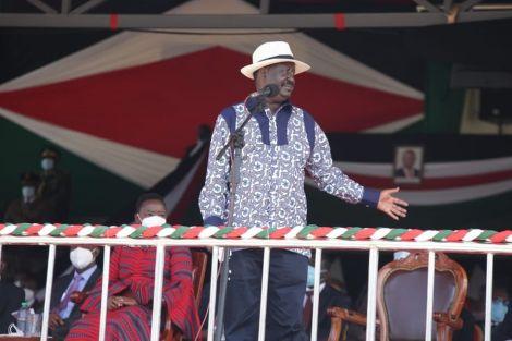 Former Prime Minister Raila Odinga gives an address during Madaraka Day Celebrations in Kisumu