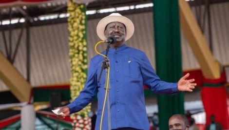 Former Prime Minister Raila Odinga speaks during the Mashuja Day Celebrations in Kirinyaga on October 20, 2021.