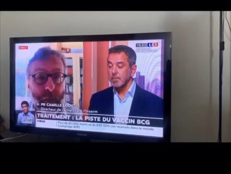 French doctors Dr. Jean-Paul Mira and Camille Locht on TV channel LCI (Paris, France) on Friday, April 3, 2020