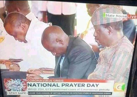 From left, President Uhuru Kenyatta, Deputy President William Ruto and former Prime Minister Raila Odinga at the National Prayer session held at State House Nairobi on March 21, 2020.