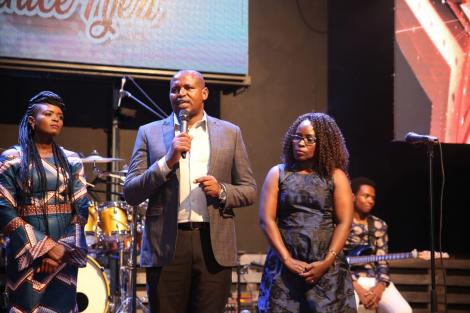 From the Left, Eunice Njeri, Pastor Wilson Kariuki and his wife Alice Kariuki at the Secret Place concert in April 2019.