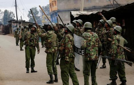 General Service Unit officers foil a riot in Kisumu in 2017.