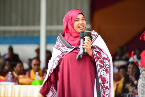 Garissa Woman Representative Anab Subow Gure addresses a crowd on March 23, 2020.