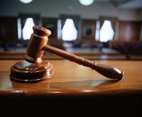 Gavel on the bench in the courtroom