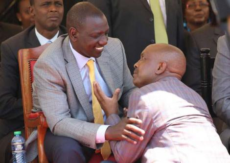 Former Imenti Central MP Gideon Mwiti kneels before Deputy President William Ruto at a function in Meru County on Monday, February 8, 2016