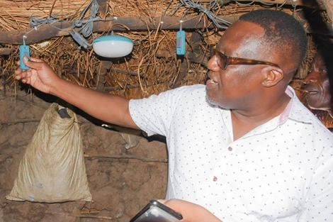 File image of Kilifi Governor Gideon Saburi inspecting a lighting project at a home in Kilifi County