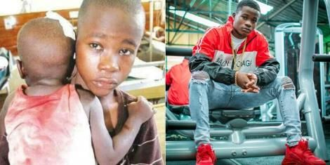 A photo collage of Gift Osinya with his younger brother in 2014 (left) and a grown up Osinya in 2019