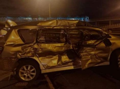 Jimmy Wayuni Githinji's car pictured after an accident along Thika Road on May 26, 2020