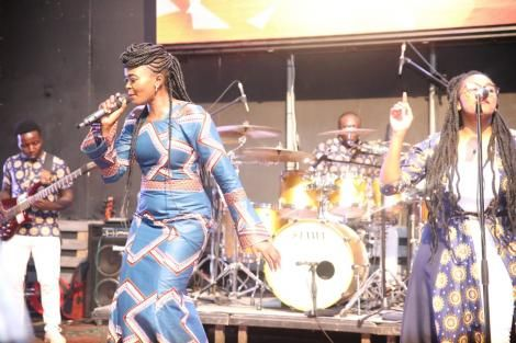 Gospel singer Eunice Njeri pictured during a praise session at the Secret Place concert in April 2019.